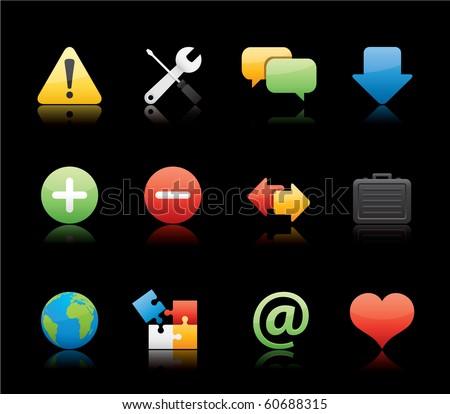 Web icon set 17 - Glossy Black Series.  Vector EPS 8 format, easy to edit. - stock vector