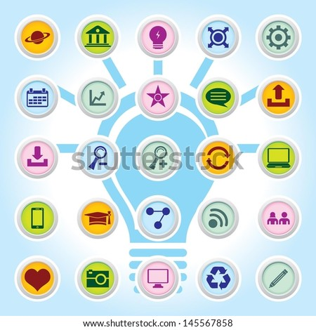 Web Icon Set Icons On Colour Buttons Backgrounds Eps-10