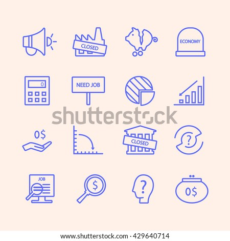 Web icon set - money, finance, payments,crisis,unemployment.  Unique and modern set isolated on background.
