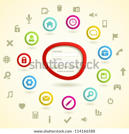 Web Icon Set with Log in Form. Vector  illustration. - stock vector