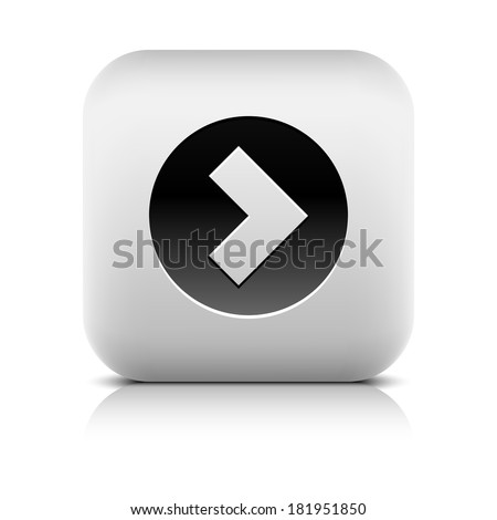 Web Icon with arrow sign in black circle. Series in a stone style. Rounded square internet button with shadow and reflection on white background. Vector illustration design element in 8 eps - stock vector