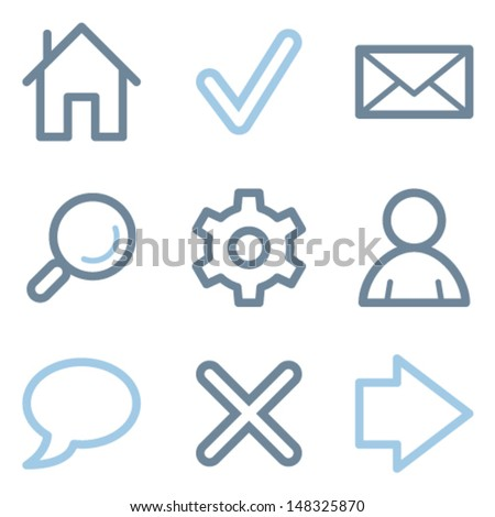 Web icons, blue line contour series - stock vector