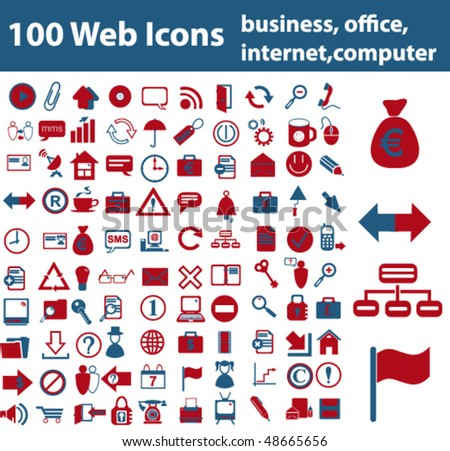 Web Icons - business, office, internet, computer - stock vector