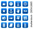 Web icons, buttons. Blue series 2 - stock vector