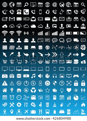 Web icons collection on blue background