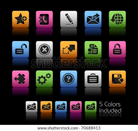 Web 2.0 icons // Color Box -------It includes 5 color versions for each icon in different layers --------- - stock vector