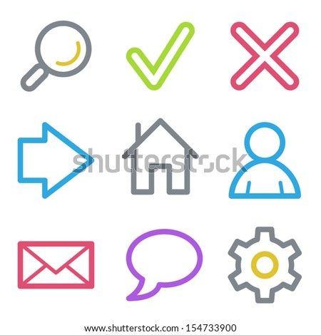 Web icons, color line contour series - stock vector