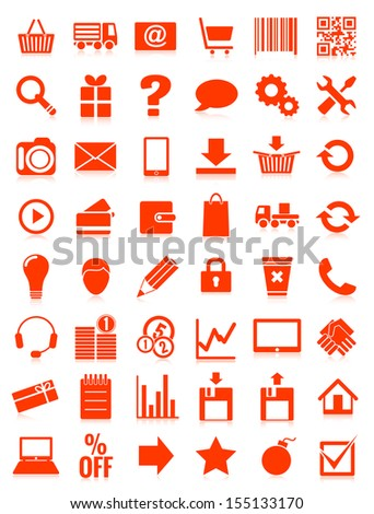 web icons for eshop, flat design, white on red background, vector illustration, eps 8