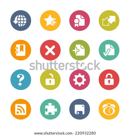 Web Icons // Fresh Colors -- Icons and buttons in different layers, easy to change colors. - stock vector