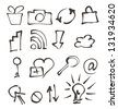 web icons hand drawn on white - stock vector