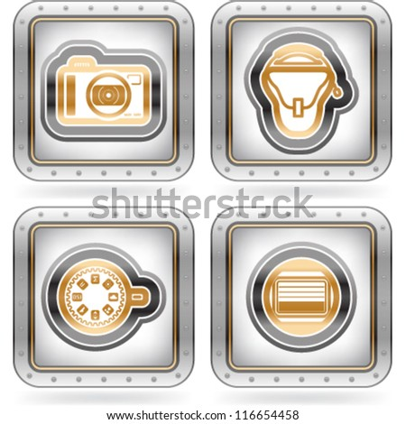 Web icons (internet icons), pictured here from left to right:  Compact camera, Camera bag, Dial button, Camera shutter. - stock vector
