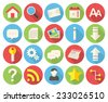 Web icons, modern flat icons with long shadow - stock