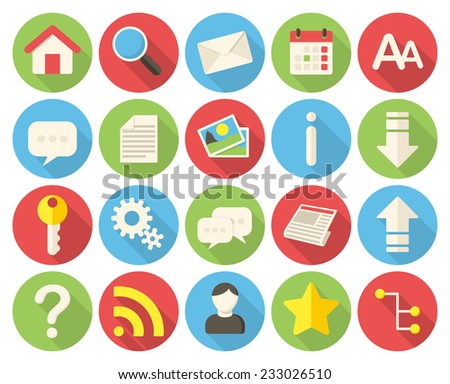 Web icons, modern flat icons with long shadow - stock vector