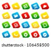 Web icons on colored cut square buttons, set 1. Shadows are transparent - you can put it on every surface. 10 EPS - stock vector
