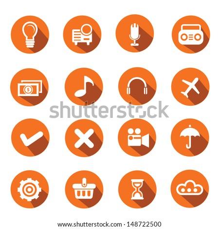 Web icons,Orange version,vector - stock vector