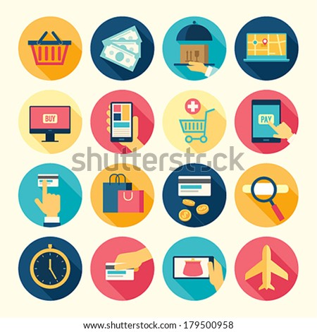 Web icons set - buy and sell theme. Vector illustration. - stock vector