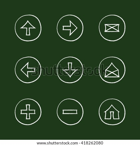 Web icons set- chalk sketch sign illustration on chalk board. Hand-drawn round buttons. Isolated. Vector illustration. Arrows, Letters, Home, Plus, Minus - stock vector