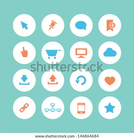 Web icons set - flat style - stock vector