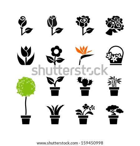 Web icons set - flowers and potted plants - stock vector
