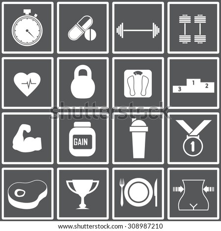 Web icons set for fitness and a healthy lifestyle. Health and nutrition. Stopwatch, amino acids, barbells, dumbbells, cardio, weight, strength, gainer, protein, shaker, meat, cup, food. Design flat. - stock vector