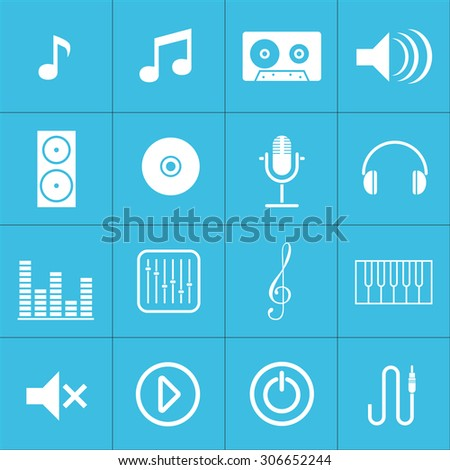 Web icons set for music and applications:note, cassette, speaker, drive, microphone, headphone, mixer, musical key, cable. Design flat. - stock vector