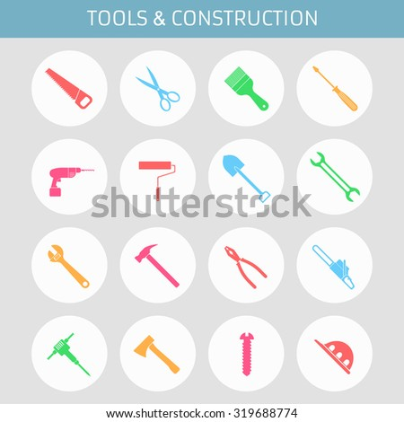 Web icons set for tools: saw, scissors, paint brush, screwdriver, drill, roller, shovel, wrench, adjustable wrench, hammer, pliers, chainsaw, hammer, axe, screw helmet. Design flat. - stock vector