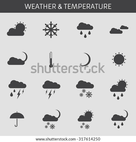 Web icons set for weather: sun, clouds, rain, rain and thunderstorms, partly cloudy, cloudy, temperature, umbrella, rain, snow, night, thermometer, moon. Flat design.