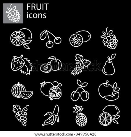 Web icons set - Fruit - stock vector