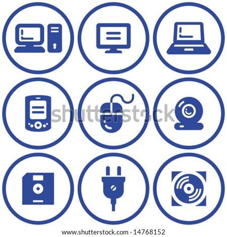 Web icons set â?? Hardware (Vector) - stock vector