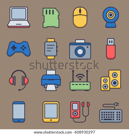 Web icons set of smart devices and gadgets, computer equipment and electronics. Vector illustration