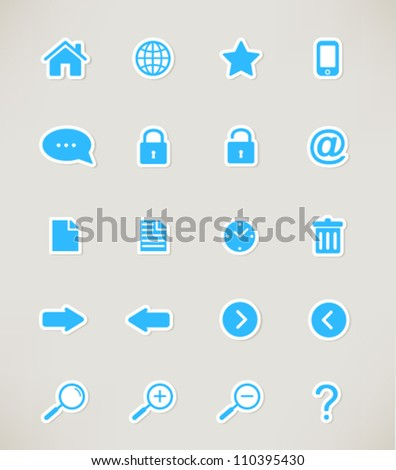 web icons set. paper stickers - stock vector