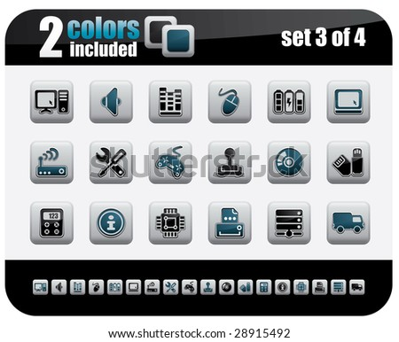 Web Icons Set. Steelo Series. Set 3 of 4. - stock vector