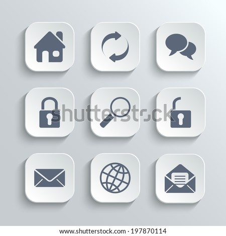 Web icons set - vector white app buttons with home refresh speech bubble lock search unlock mail globe - stock vector
