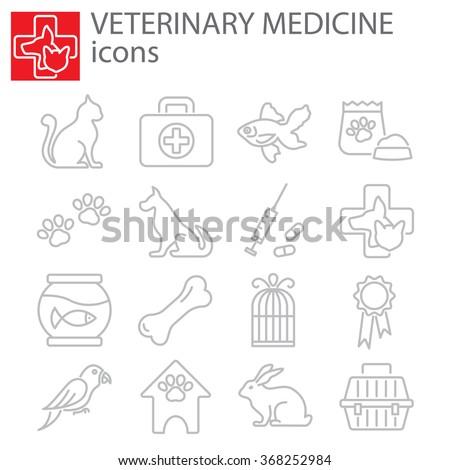 Web icons set - Veterinary medicine - stock vector