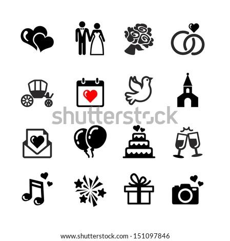 Web Icons Set Wedding Bride Groom Stock Vector Royalty Free