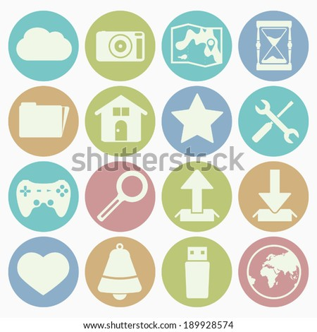 web icons set with color background - stock vector