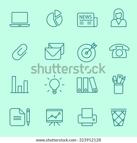 Web icons, thin line design - stock vector