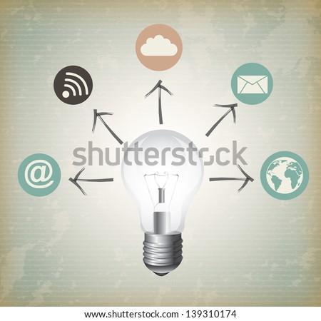 web Ideas over gray background vector illustration - stock vector
