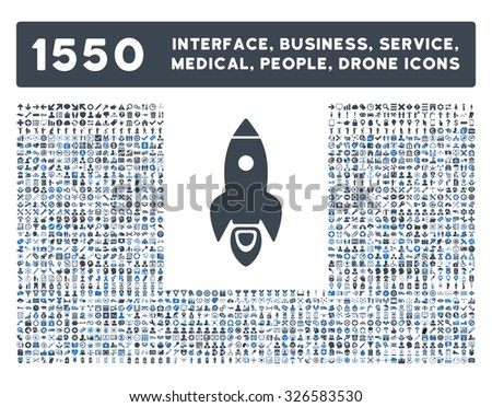 Web interface, business tools, hardware devices, people poses, medical service and awards vector icons. Style is bicolor flat symbols, smooth blue colors, rounded angles, white background. - stock vector