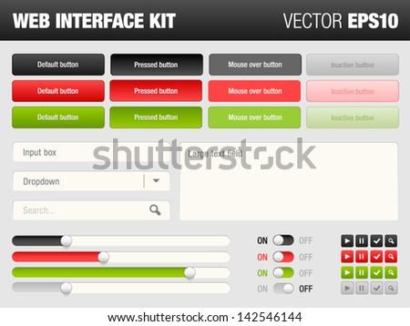 web interface kit - stock vector