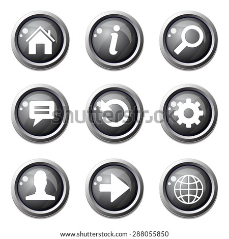 Web Internet Black Vector Button Icon Design Set