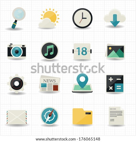 Web internet icons and mobile icons with white background - stock vector