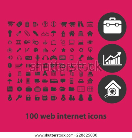 web internet, media, page, business black isolated icons, signs, symbols, illustrations set, vector - stock vector
