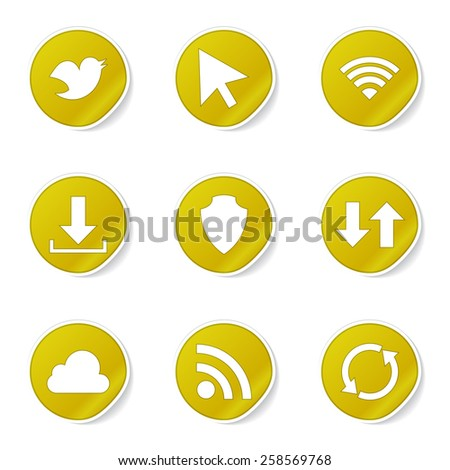 Web Internet Social Yellow Vector Button Icon Design Set - stock vector