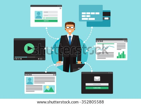Web Life of Businessman from video, blog, social networks, online shopping and email. Graphic user interface and web pages forms and elements. Vector - stock vector