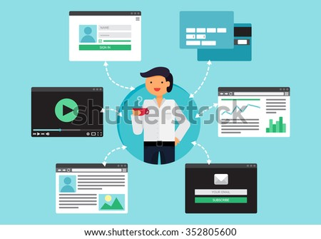 Web Life of Businessman from video, blog, social networks, online shopping and email. Graphic user interface and pages forms and elements. Vector - stock vector