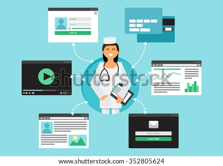 Web Life of Doctor from video, blog, social networks, online shopping and email. Graphic user interface and web pages forms and elements. Vector - stock vector