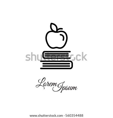Web line icon. Apple on books, knowledge icon