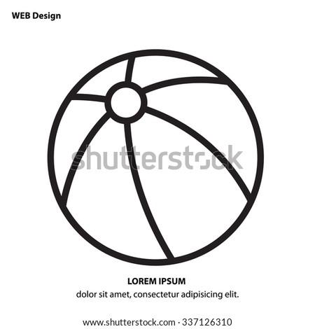 Web line icon - Children's ball, baby toy - stock vector
