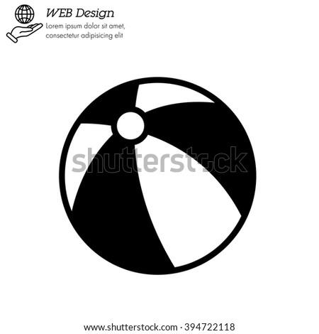 Web line icon. Children's ball, baby toy - stock vector